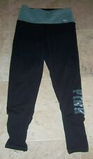 VICTORIA'S SECRET Yoga Leggings Size XS Black, Blue Sequins BLING logo leg