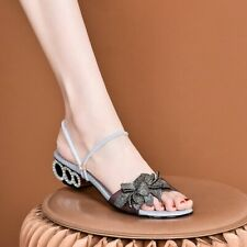 New Women Peep Toe Bowknot Floral Rinestones Flat Sandals Sexy Casual Shoes