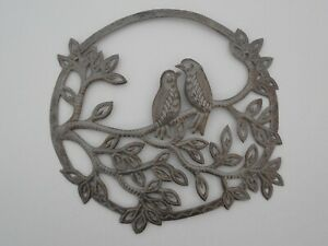 Haitian Art Recycled Oil Drum Metal Wall Decoration Love Birds Turtledoves 12x12