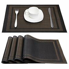 Placemats Place Mats Anti-skid Washable PVC Table Woven Set Of (Black+Gold)