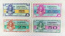 Lot of (4) US Military Payment Certificates MPC 5, 10, 25, 50 cents  Series 521