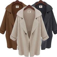 Winter Womens Ladies Lapel Wool Coat Jacket Long Parka Overcoat Outwear One Size