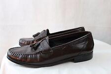 Men's Town&Craft Burg/Brown leather Casual Dress Slip on Loafer Tassel Shoe 9.5D