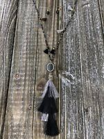 Black and Silver Tassel Necklace and Earring Set