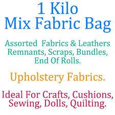1 Kilo Bag Assorted Upholstery Fabric Remnants Scrap End Roll Bundle Craft Dolls