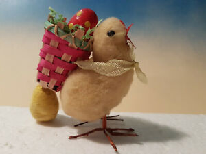 Antique Miniature Batting Cotton Peep w Braided Back Easter Basket*Germany