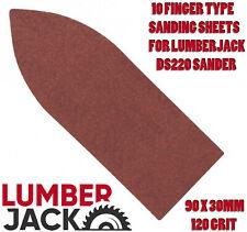 10 Finger Sanding Sheets 90 x 30mm for Lumberjack DS220 Detail Sander 120 Grit