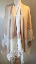 New Designer Pia Rossini Beige Fine Knit Wrap Jumper Cardigan One Size