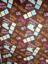 "Cute ""BFF"" Girls Glitter Sleepover on Brown Polka Dot Flannel Fabric"