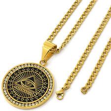 "Men's Gold Tone Stainless Steel Free Mason Medallion Pendant 4mm 30"" Cuban Chain"