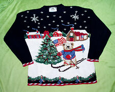 2002 TIARA Ugly Christmas Sweater Bear Skiing Christmas Tree American Flag Sz L