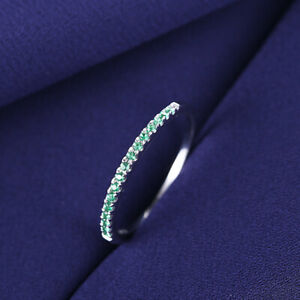 Solid 10K White Gold Anniversary Gemstone Band 0.2CT Flawless Emerald Ring Gift