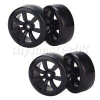 4x Schwarz Kunststoff Drift Reifen mit 7 Speichen Felgen f