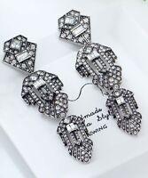 1 pair Elegant White Crystal Rhinestone  Ear Drop Dangle Stud long  Earrings 38
