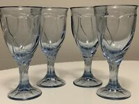 Noritake Sweet Swirl Light Blue Water Goblet Glasses Set of 4 Vintage Stemware