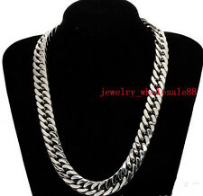 32'' 15mm Punk Stainless steel Large Chunky Curb Chain Link Men's Necklace
