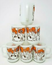 Set of 6 1958 Shulz Anchor Hocking Fire King Snoopy Sweet Dreams Coffee Mugs