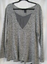 Ashley Stewart Gray Knit Lightweight Hi-Lo Hem Sweater Blouse - Plus Size 18 20