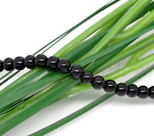 "6mm JET BLACK Round Glass Pearls long 32"" strand about 145 beads bgl0736"
