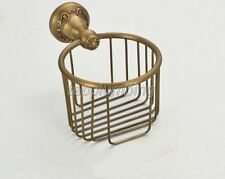 Antique Brass Bathroom Toilet Paper Roll Basket Holder Wall Mounted