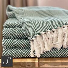 Luxe Eco Friendly Coton Vert Foncé Blanc Grand Herringbone Lit Canapé Throw