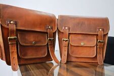 2 Side Pouch Brown Leather Motorcycle Side Pouch Saddlebags Saddle 2Bag