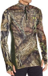 NWT Under Armour Men's ColdGear Infrared Scent Control ¼ Zip LS Shirt Camo