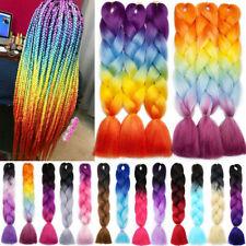 "24"" Kanekalon Jumbo Braiding Hair Extensions Plaited Box Braids Ombre Rainbow fo"