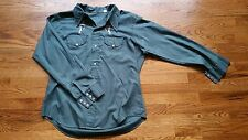 Vintage 70's Embroidered Chambray Snap Button Western Down Shirt Large L Saddle