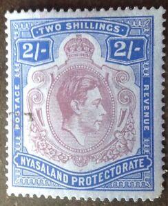 Nyasaland 1938 2 shilling purple & blue stamp vfu