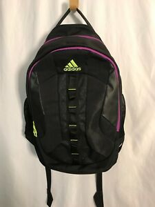 ADIDAS Load Spring Women's Large School/Hiking Backpack Black/purple/Neon yellow