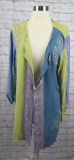 Soft Surroundings M Medium Purple Blue Green One Button Rayon Tunic