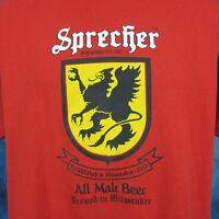 vintage 80s SPRECHER BREWING CO MALT BEER MILWAUKEE WISCONSIN T-Shirt LARGE thin