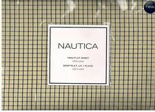 Nautica Tattersall Yellow Blue Check Twin Flat Sheet Nautical Nautical New