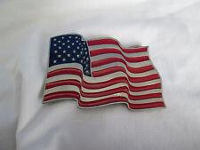 United States U.S. Red White & Blue Enamel Waving Flag Belt Buckle Legends West