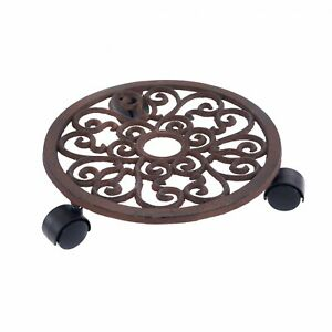 "NEW! 12"" Cast Iron Garden Plant Flower Pot Mobile Mover Trolley Stand"