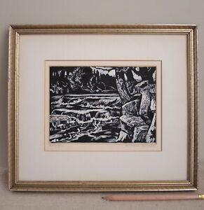 Robert von Neumann 'Waterfall' Orig Gouache Painting White Black Regionalist WPA