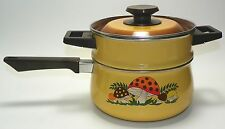 Vintage Sears MERRY MUSHROOM 70s Enamel Ware Double Boiler with Lid SHIPS FREE