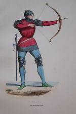 GRAVURE-ARCHER FRANCAIS FROISSART-COSTUMES MOYEN AGE 1847-ANTIQUE  PRINT