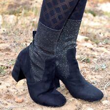 Botines negros mujer con tacon, glitter en caña botas zapatos