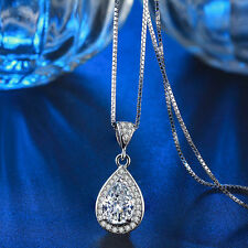 Vintage Water Drop Necklace Pendant Rhinestone Shiny Accents Silver Chain Gift