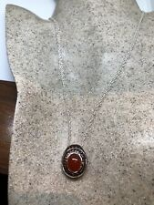 Vintage Deco Sterling Silver Genuine Carnelian Garnet Necklace Choker