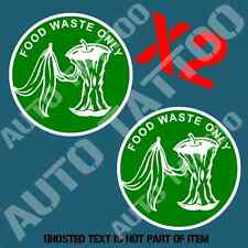 FOOD WASTE DECAL STICKER X2 COMMERCIAL GARBAGE BIN OH&S SAFETY DECAL STICKERS