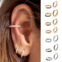 Women 18K Gold Filled Cartilage Ear Studs Hoop Earrings Punk Piercing Jewelry