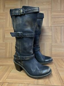 RARE🔥 FRYE Carmen Triple 3 Strap Distressed Leather Boots Sz 7 B Made In Mexico