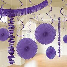 18 Púrpura Decoración Fiesta Colgante Papel & Lámina Lavanda Lila Boda Fiesta