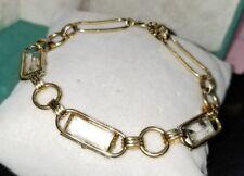 VINTAGE 12k GF 1/20 yellow gold filled 25ct emerald cut stone tennis Bracelet