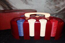 Vtg Bakelite Catalin POKER CHIP CADDY Holder w Bulldog Composite Chips & Cover