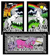 Unicorns 3-Pack - Large 16x20 Inch Fuzzy Velvet Coloring Poster