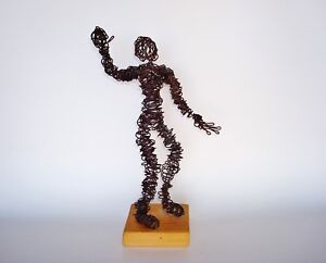 Figural Wire Sculpture manner of  Salvadore Dali's Don Quixote without his Hat